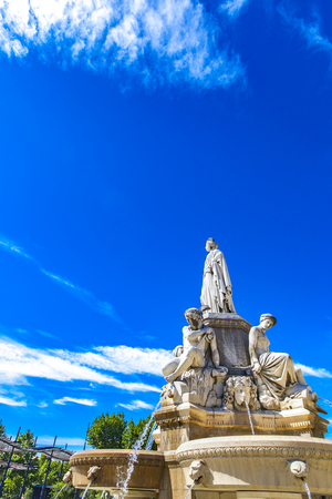 Detail of Pradier fountain at Esplanade Charles-de-Gaulle in Nimes, France Editorial