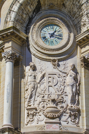 Clock from building of Lycee Alphonse Daudet in Nimes, France Editorial