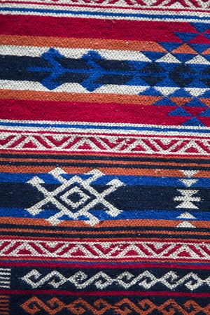 Detail of the traditional Georgian handmade carpet with typical geometrical pattern
