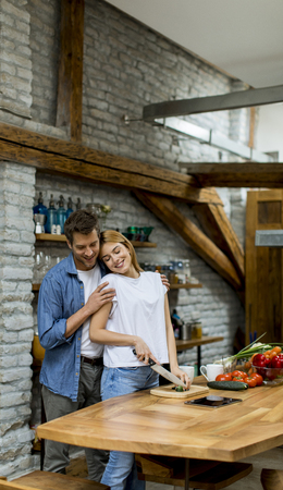 Lovely cheerful young couple cooking dinner together and having fun at rustic kitchen Banque d'images - 123952062