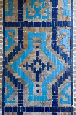 Closeup detail of decorative tiles at facade of the Orbeliani sulphur baths building in Tbilisi, Georgia Banque d'images - 124399315