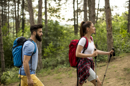 Couple of young happy travelers hiking with backpacks on the beautiful forest trail on a summer day Banque d'images - 124566381
