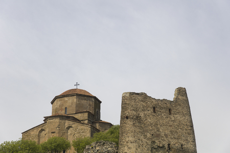 View at Jvari Orthodox monastery near Mtskheta in Georgia 版權商用圖片