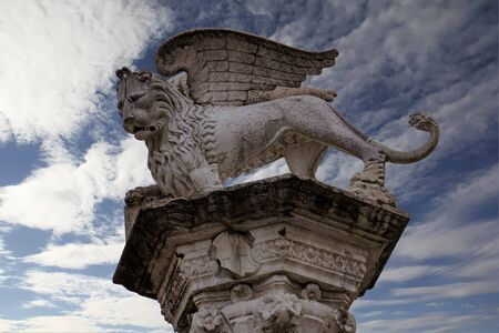 View at column with the Venetian winged lion in Piazza dei signori in Vicenza, Italy Stock Photo - 125404830