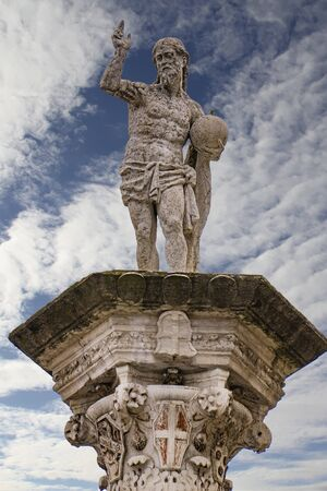 View at statue of the Redeemer at Piazza dei Signori in Vicenza Italy, made by Antonio Pizzocaro in 1640 Stock Photo - 125404882