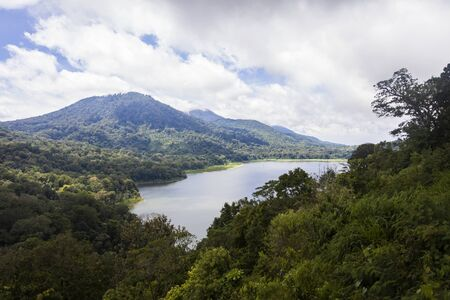 View at mountain caldera lake Buyan in the central part of Bali island, Indonesia Stock Photo