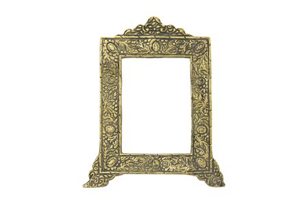 Vintage yellow picture frame  isolated on the white background