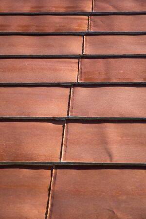 Detail of the roof rusty corrugated iron metal texture Standard-Bild - 126058042