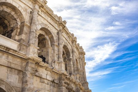 View at Arena of Nimes, Roman amphitheater in France