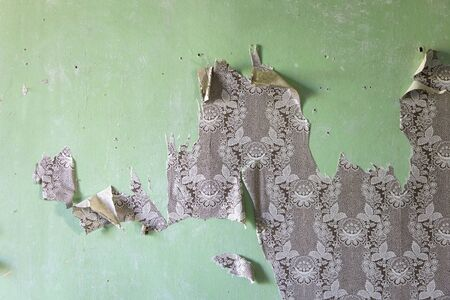 Detail of the torn wallpapers on the old green wall