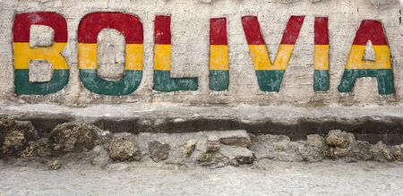 Colorful Bolivia sign at Salar de uyuni