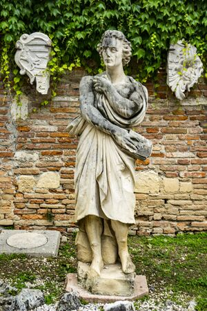 Statue at century courtyard of the Teatro Olimpico in Vicenza, Italy, made by architect Andrea Palladio at 1585