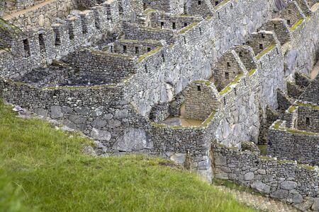 Detalle de las ruinas de la antigua ciudad inca de Machu Picchu en Perú