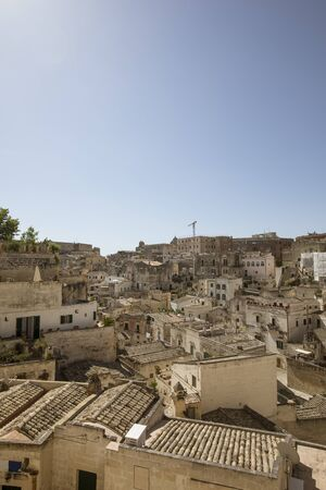 View of the ancient town of Matera at Basilicata region in southern Italy