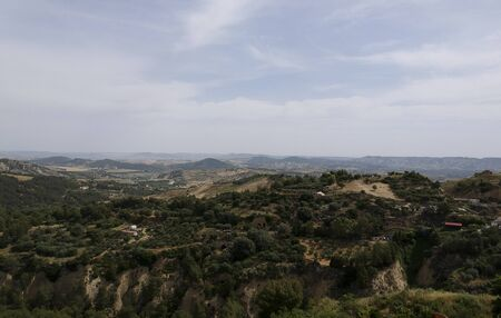 Panoramic view of landscape by the old town Tursi in Basilicata region, Italy Banque d'images - 126707505