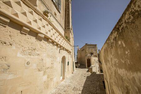View at narrow street of the ancient town of Matera at Basilicata region in southern Italy