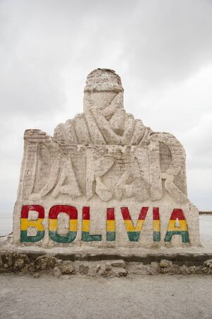 SALAR DE UYUNI, BOLIVIA - JANUARY 13, 2018: Monument Dakar Rally in Salar de Uyuni, Bolivia. The monument is dedicated to Dakar rally which is held in South America since 2009. 報道画像