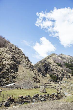 View at high latitude mountains at Mtskheta-Mtianeti region in Georgia Stock Photo