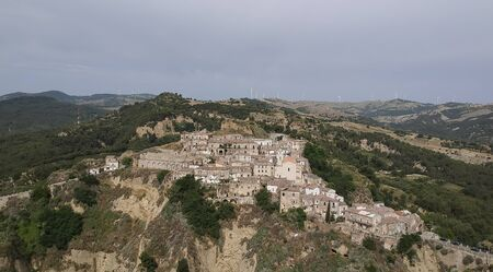 Panoramic view of old town Tursi in Basilicata region, Italy Banque d'images - 126707839