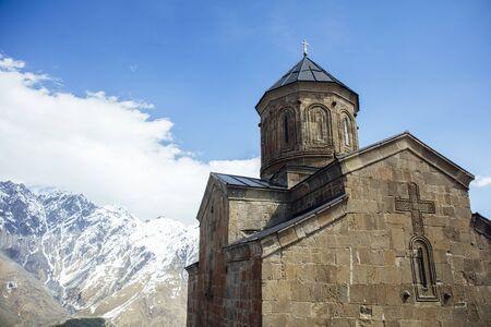 View at Gergeti Trinity Church in Georgia Banco de Imagens