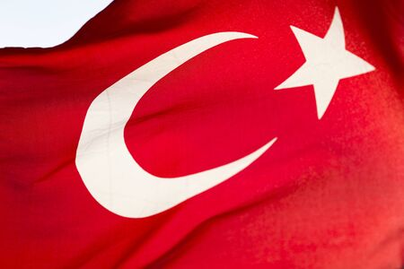 Closeup detail of Turkish flag waving in the wind Imagens