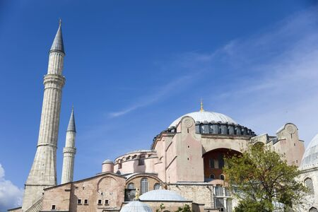 View at Hagia Sophia domes and minarets in the old town of Istanbul, Turkey 版權商用圖片