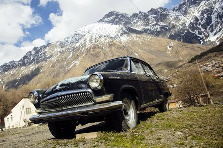 GERGETI, GEORGIA - APRIL 29, 2019: View at Volga GAZ-M-21 car in Gergeti, Georgia. This car,  originated in the Soviet Union, was produced between 1956 and 1970.
