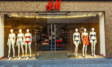 COLOGNE, GERMANY - FEBRUARY 28, 2015:Detail of the H and M store in Cologne, Germany. H and M is a Swedish multinational retail-clothing company founded at 1947.