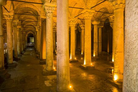 Ancient Basilica Cistern from 6th century in Istanbul, Turkey