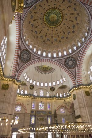 Interior of the Suleiman Mosque (Suleymaniye Camii), grand 16th-century mosque in Istanbul , Turkey Editorial