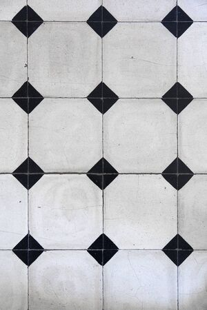 Closeup of the mosaic tiles with geometric pattern
