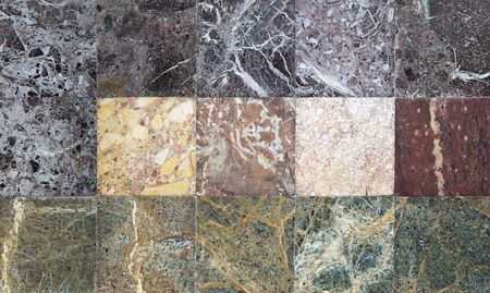 Set of various marble stone textures Stock fotó