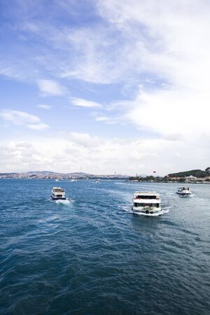 View at boat at Bosphorus strait in Istanbul, Turkey