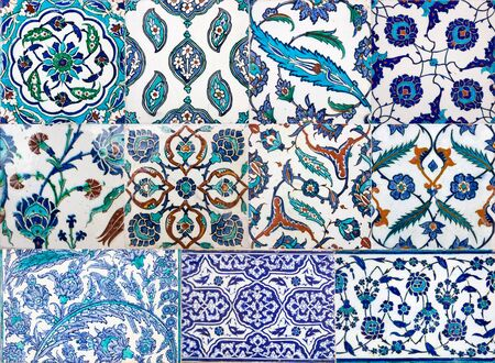 Ancient Ottoman handmade turkish tiles with floral patterns from Topkapi Palace in Istanbul, Turkey