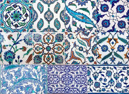 Antiguos azulejos turcos hechos a mano otomano con motivos florales del Palacio de Topkapi en Estambul, Turquía