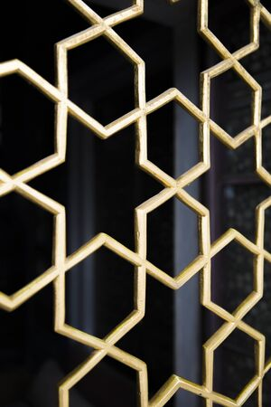 Oriental antique window grills with a star pattern at Topkapi Palace in Istanbul, Turkey Stockfoto