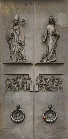 View at detail from facade of Abbey of St Justina in Padua, Italy
