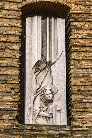 View at sculpture on facade of Abbey of St Justina in Padua, Italy