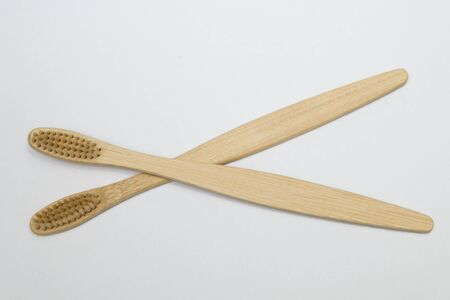 Two bamboo toothbrushes isolated on the white background Stock fotó