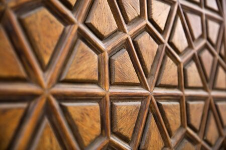 Closeup detail of the traditional wooden carving ornament from Suleymaniye Mosque in Istanbul, Turkey