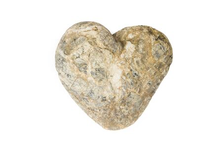 Heart of stone isolated on the white background Banco de Imagens