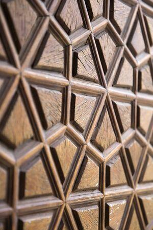 Détail de plan rapproché de l'ornement traditionnel de sculpture en bois de la mosquée de Suleymaniye à Istanbul, Turquie Banque d'images