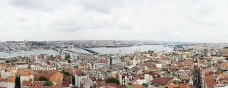 ISTANBUL, TURKEY - JUNE 21, 2019: Aerial view at houses and public buildings at Istanbul, Turkey. Istanbul is a major city in Turkey with more than 15 million citizens.