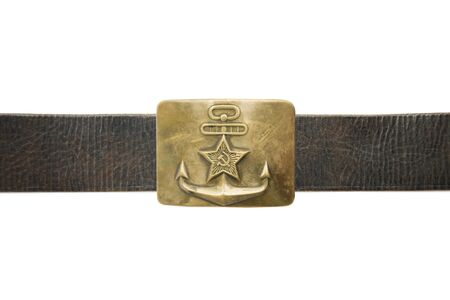 Old vintage buckle from soviet navy uniform isolated on a white background Stock fotó