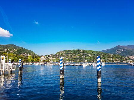 Lago di Como boat pier in Lombardy, Italy Stockfoto