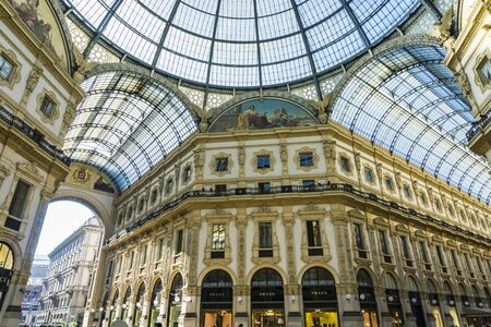 MILAN, ITALY - APRIL 14, 2019: Detail of Galleria Vittorio Emanuele II in Milan. It is one of the world oldest shopping malls, opened at 1877. Publikacyjne