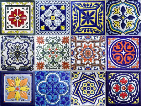 Set of colorful traditional ceramic tiles from Cartagena, Colombia