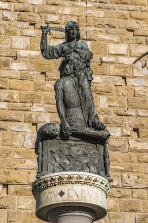 Copy of Statue Of Judith And Holofernes from 1464  by Donatello at Piazza della Signoria in Florence, Italy 報道画像