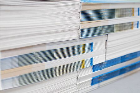 Closeup of the stack of printed materials