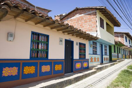 View at colourful architecture in Guatape, Colombia